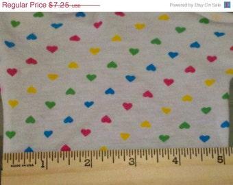 Petite Rainbow Hearts on Knit Fabric