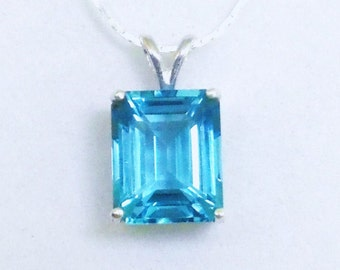 Swiss Blue Topaz Birthstone Pendant Necklace, 5 Carat Gemstone Pendant, Fine Jewelry, Gifts for Her, Sterling Silver Chain