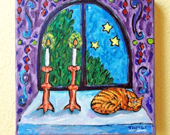 Shabbat Candlesticks, Shabbat Art, Original Painting, Shabbat Shalom Gift, Judaica Wall Art, Sabbath Table, Home is Where My Cat is, Canvas