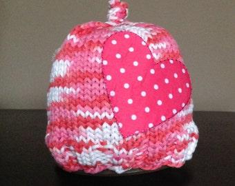 SALE- 25% off Valentine Heart Hat Handknit Holiday Photo Prop Beanie Pink White ty-dye Variegated Appliqué Polka Dot