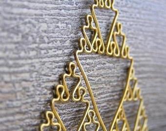 Sierpinski Triangle - Fractal Necklace in Yellow / Gold