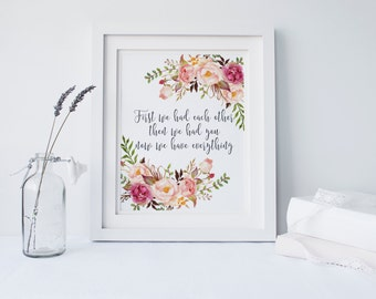 """PRINTABLE Art """"First We Had Each Other Then We Had You"""" Pink Floral Art Print New Baby Art Print Nursery Decor Floral Nursery Home Decor"""