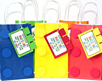 building brick party favor bags, goody bags, building brick birthday party goody bags