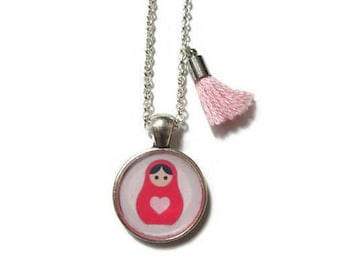 MATRYOSHKA DOLL NECKLACE - Russian Doll Jewelry - Babushka Jewelry - Russian Jewelry - Doll Jewelry - Romantic Jewelry - Girl Necklace - Kid