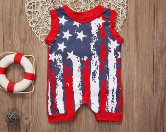 America made flag Abraham Lincoln onesie short sleeve