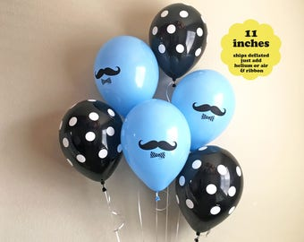 "Mustache Balloons Little Man Party - 6 pack 11"" Latex - It's A Boy Mustache Baby Shower Mustache Party Decor Mr Moustache Balloon Blue Black"