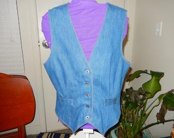 Sears Soft Denim Vest - Vintage