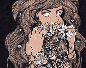 Rather Tell My Secrets to Flowers Decorative Illustration Art Print