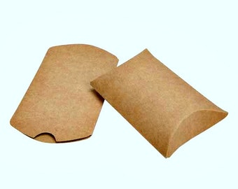 100 Brown Kraft Small Pillow Boxes 2 x 3/4 x 3 Inches, Usable Space 2 x 2 1/2 Inches, Wedding Boxes Favors, Kraft Party favors Containers