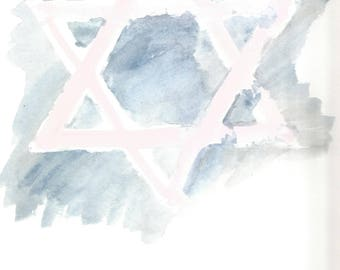 Star of David Watercolor print, 8x10, Instant Download.