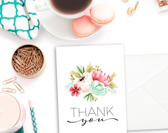 Bridal Shower Thank you Card - Printable Thank You Cards - Floral Thank You Cards - Bridal Shower Thank You - Thank You Cards