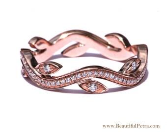 Feuille d'éternité demi-jonc sans bague de Milgrain - fleur - Diamond - vigne - main droite - 14K Rose or - fL07