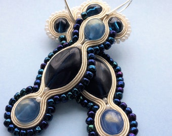 Long blue,cream Soutache earrings