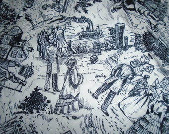 Vintage Toile Fabric, sold by the Half Yard