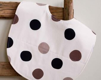 Hip Baby Feeding Bib, Multi-color Polka Dots Bib, Organic Cotton Toddler Bib, Highchair Bib for Stylish Kids, Grey and Black Bib for Babies