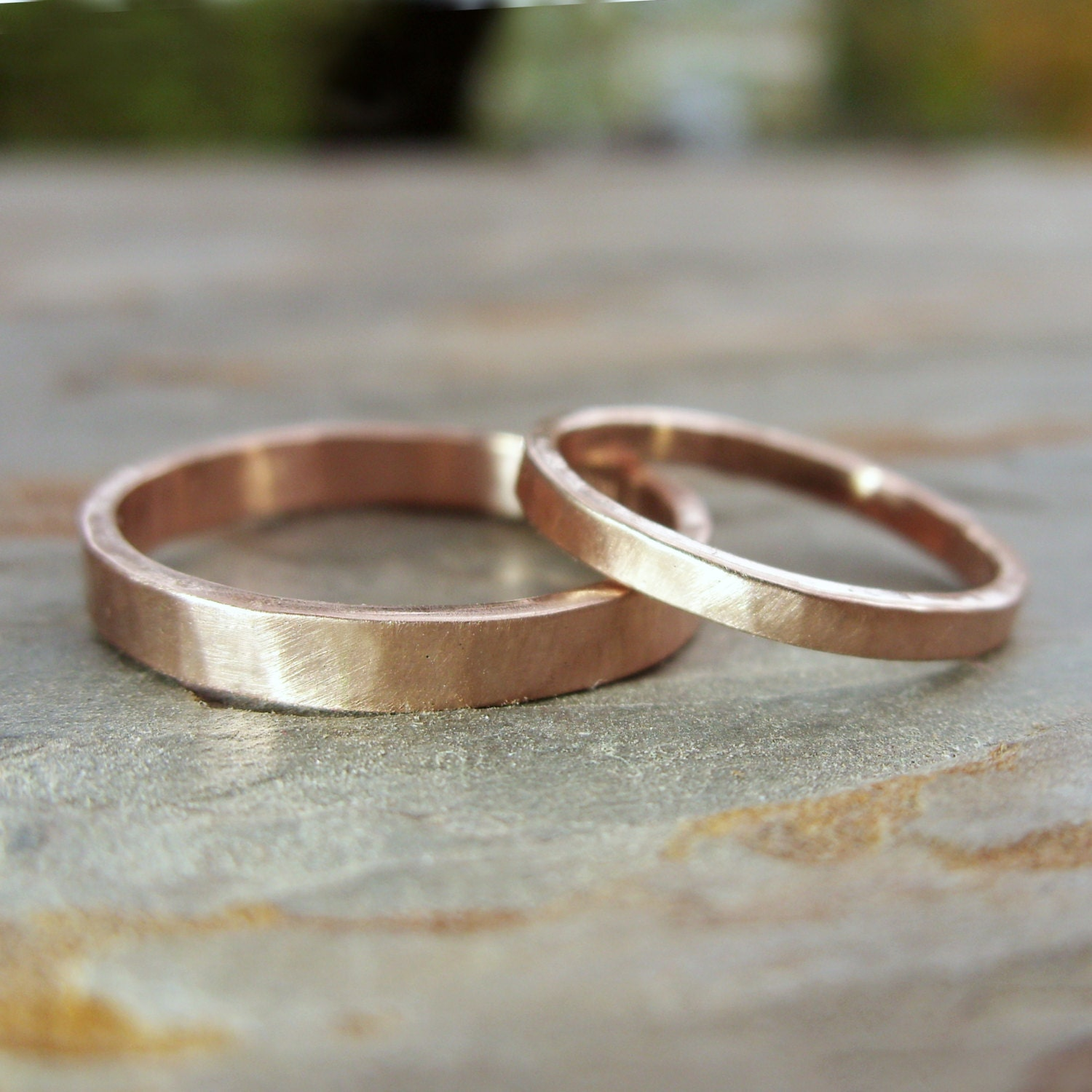 14k Yellow Gold High Polished 2mm Traditional Milgrain: Hammered Matching Wedding Band Set In Solid 14k Yellow Or Rose