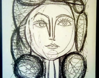 PABLO PICASSO 1956 Lithograph +COA. Françoise, 1946 Picasso Print Extremely Rare Art. Unique Gift Idea of Very Rare Art. Free Shipping