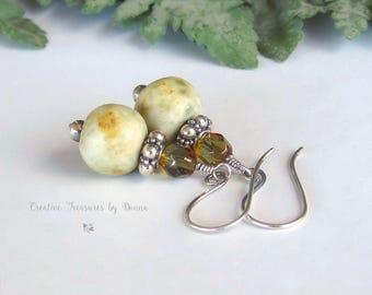 On Sale Sterling Silver Earrings Porcelain Beads Czech Glass Beads Yellow Ceramic Beads Boho Earrings Gift For Her