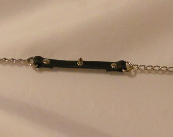 "Leather Leash With Chain And Small Spikes 30"" Long (custom lengths available)"