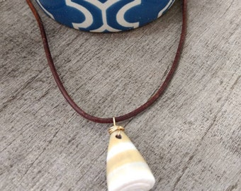Hawaiian Cone Shell Leather Necklace