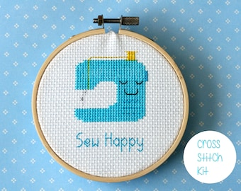 "Sewing machine cross stitch kit: ""Sew Happy"" -  cute kawaii turquoise sewing machine - embroidery kit, diy kit, cross stitch kit beginner"