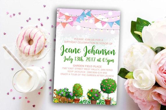 garden party invitation custom invitation birthday summer