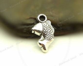 Bulk 45 Fish Charms (Double Sided) 14x8mm Antique Silver Tone Metal - Small Charms - BF31