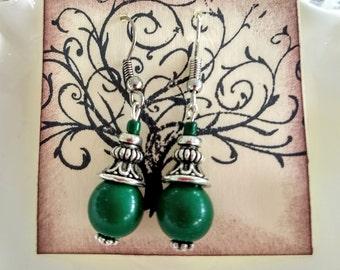 Hunter green earrings