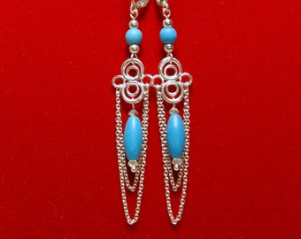"""Fancy Chalk Turquoise and Sterling Silver Chain Dangle Earrings--""""Regal Blue"""""""