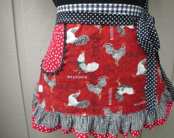 Womens Rooster Aprons - Aprons with Roosters - Farm Girl Half Aprons - Rooster Fabric Aprons - Black Pokadotted Aprons - Annies Attic Aprons