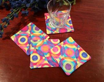 Fabric Coasters, Set of 4 Coasters, Stemware Coasters, Wine Glass Coasters, Criss Cross Coasters, Slipper Coasters, Stem Glass Coasters