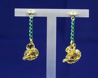 Grean and Gold Cup & Saucer Earrings