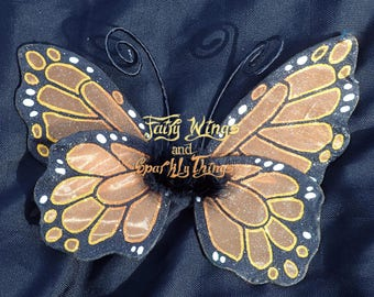 Handmade child sized orange monarch butterfly fairy wings with poseable antennae ideal for flower girl, pageant or costume -Ready to ship