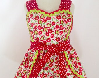 Girl's Wrap Around Romper, Berries & Apples, Vintage Style, Summer Sundress