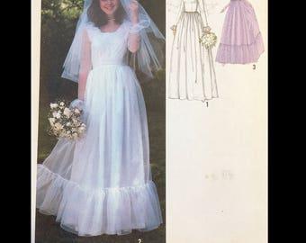 Vintage 70s Modest Ruffled Flounced Prairie Wedding Gown Sewing Pattern 8825 B34