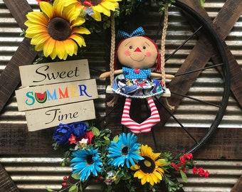 Summer Wreath, Floral Wreath, Doll Wreath, Summer wreaths for front door, Summer door hanger, Summer Door wreath, Everyday wreath
