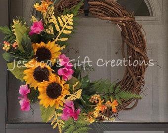 Made to Order Sunflower Grapevine Wreath/Front Door Wreath/Everyday Wreath/Spring Decor/Summer/Year Round Wreath/Welcome/Monogram Decor