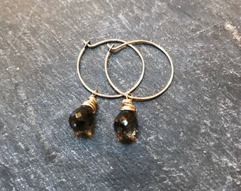 espresso... smoky quartz and gold hoop earrings / faceted smoky quartz briolette and 14k gold filled hoop earrings