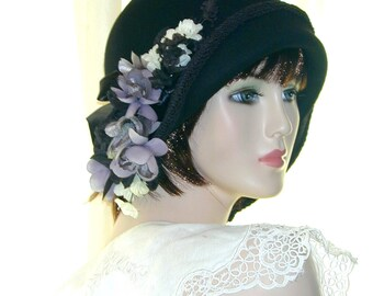 Black Custom Convertible 6 in 1 cloche w/ floral fascinator- Downton Abbey hat, Miss Fisher, Great Gatsby hat