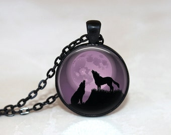 Glass Tile Necklace Wolf Necklace  Moon Necklace Glass Tile Jewelry Animal Jewelry Moon Jewelry Wolf Jewelry Purple Jewelry Purple Necklace