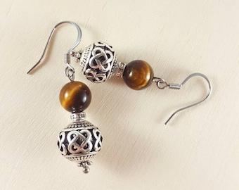 Dangle earrings, Drop earrings, Tiger eye earrings, Everyday earrings, Natural stone, Crystal earrings, Boho earrings, Gift for women