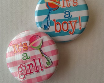 gender reveal party set of 20 gender reveal 1.25 inch buttons pinback flatback or hollowback