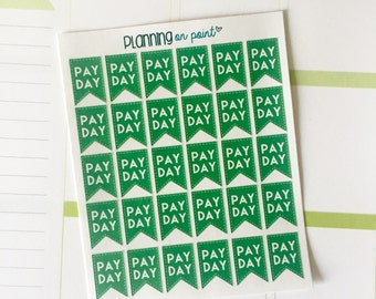 Pay Day Page Flags Planner Stickers