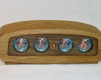 Wooden Nixie tube clock In-4 tubes, RGB backlight