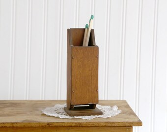 Vintage Wooden Match Holder, Wood Matchstick Holder