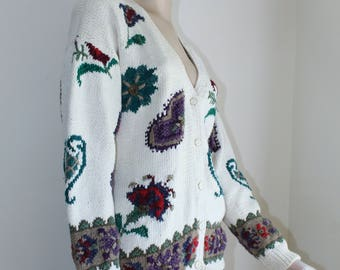 Heavy Cardigan by Signatures Northern Isles Size X Large Hand Knit Fall 1980s Sweater Cotton Ramie