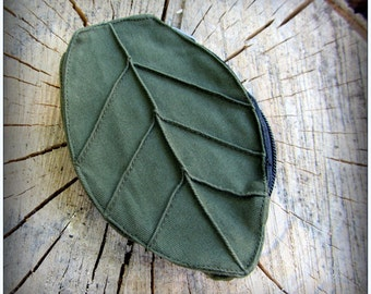 Leaf Pouch Wallet fits on Utility Belt Bag ~ Yule stocking stuffer ~ Green Brown Black or Purple Canvas ~ Zelda Cosplay