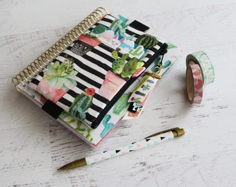Cactus planner - cactus bag - mini planner - franken planner accessories - cactus personal planner - planner pouch with elastic strap