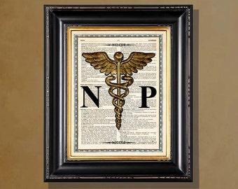 "Fine Art Print - ""Nurse Practitioner - Caduceus, Gold Toned "" 8.5""x11"", Medical print, Nurse Practitioner Gift, Medical Art Decor"