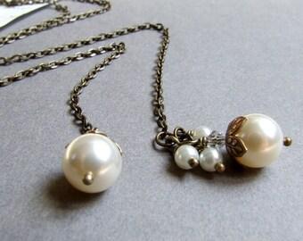 Antik Messing Swarovski Perle Lariathalskette, Swarovskiperlen, Charme cluster